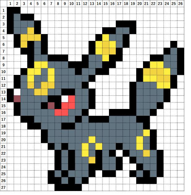 Pokemon Perler Beads アイロンビーズ 図案 ポケモン 197 ブラッキー Umbreon