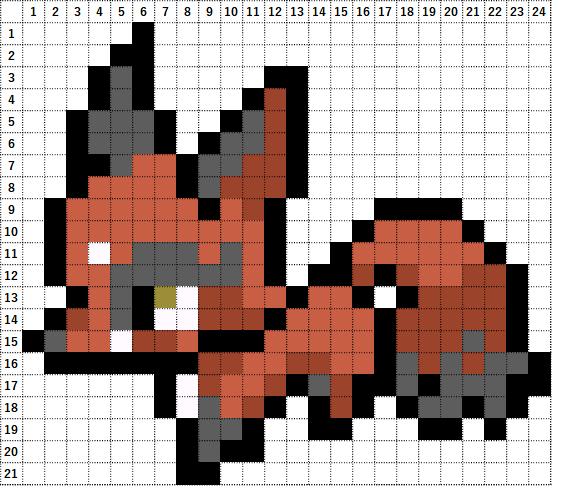 Pokemon Perler Beads アイロンビーズ 図案 ポケモン 827 クスネ Nickit