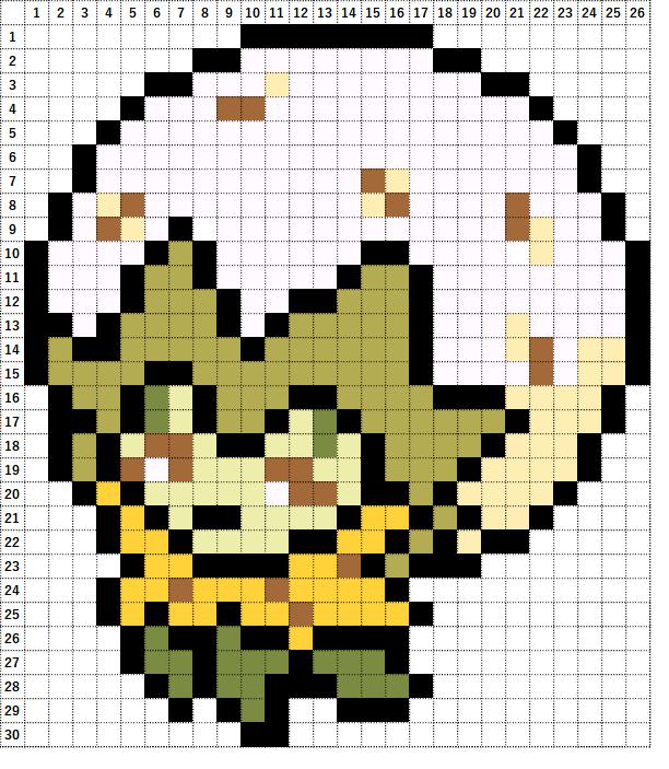 Pokemon Perler Beads アイロンビーズ 図案 ポケモン 830 ワタシラガ Eldegoss