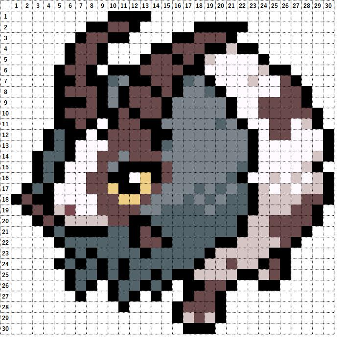 Pokemon Perler Beads アイロンビーズ 図案 ポケモン 832 バイウールー Dubwool