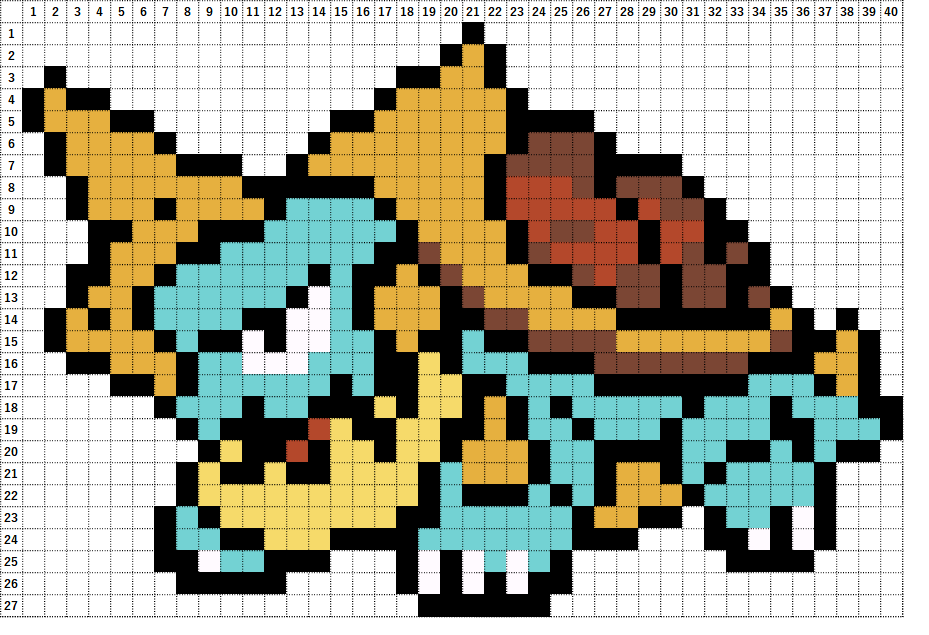 Pokemon Perler Beads アイロンビーズ 図案 ポケモン 834 カジリガメ Drednaw