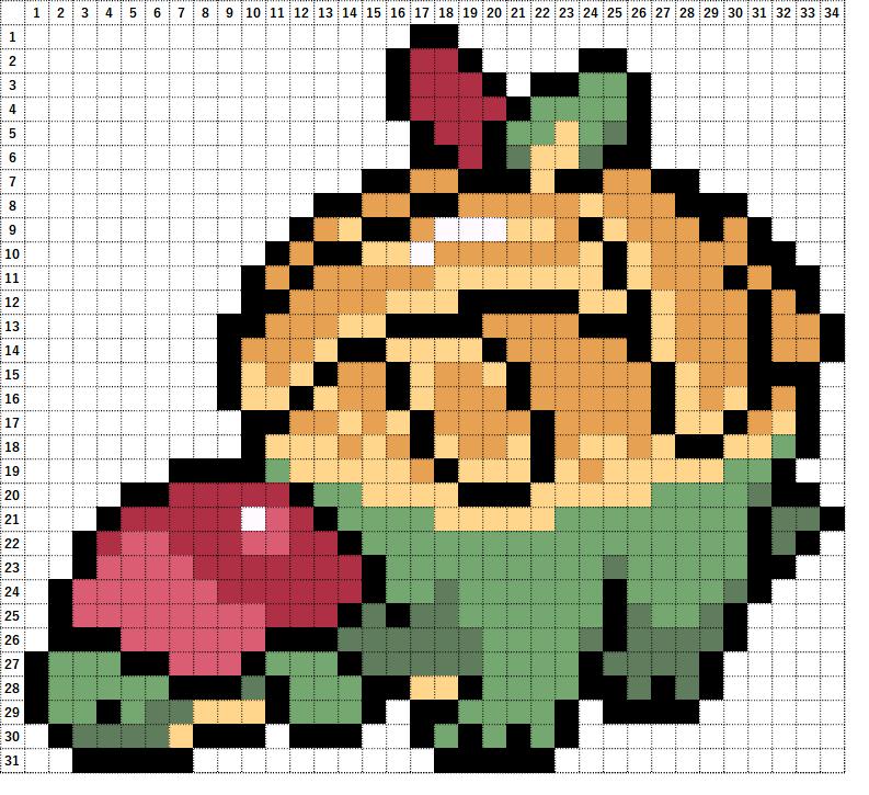 Pokemon Perler Beads アイロンビーズ 図案 ポケモン 842 タルップル Appletun