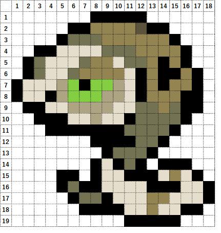 Pokemon Perler Beads アイロンビーズ 図案 ポケモン 843 スナヘビ Silicobra