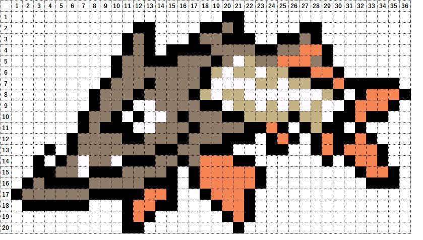 Pokemon Perler Beads アイロンビーズ 図案 ポケモン 847 カマスジョー Barraskewda