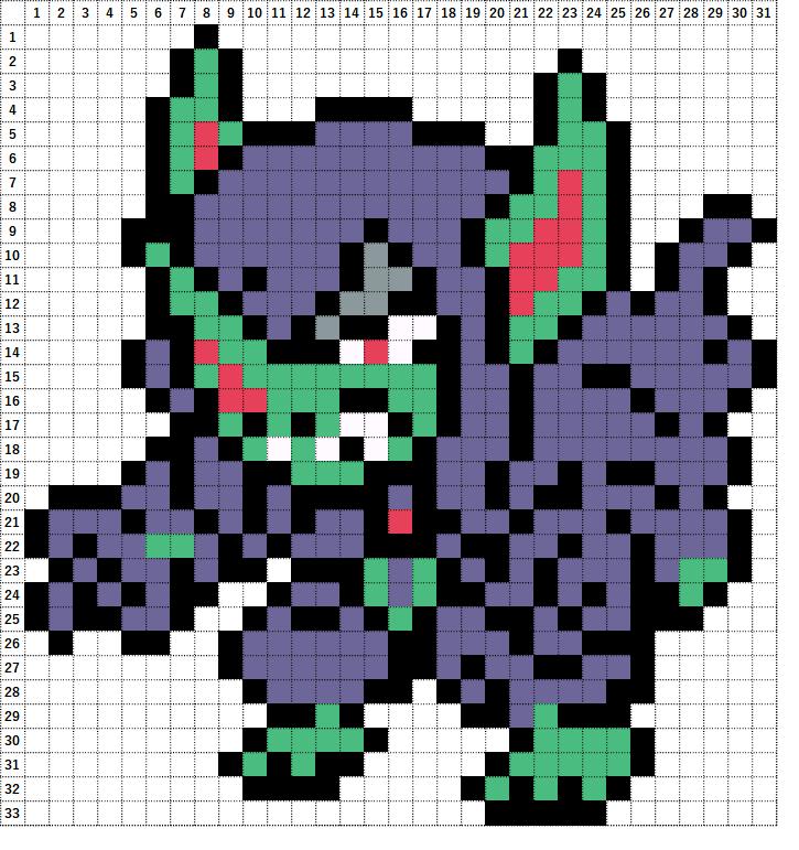 Pokemon Perler Beads アイロンビーズ 図案 ポケモン 861 オーロンゲ Grimmsnarl