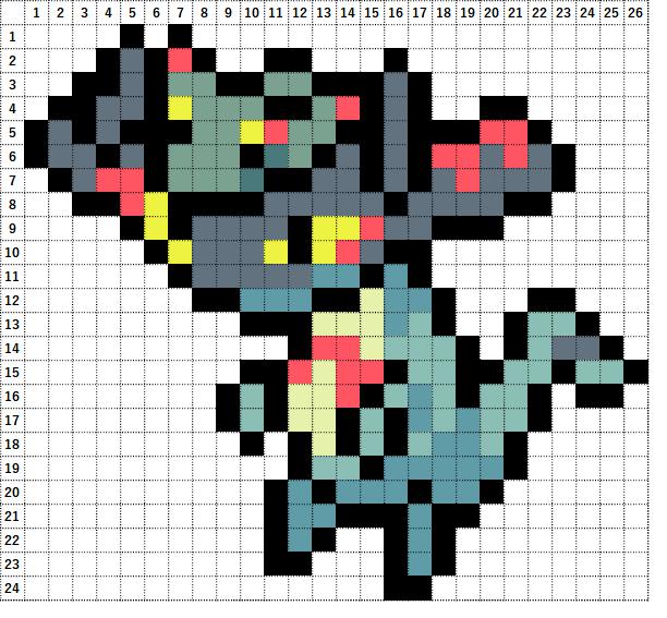Pokemon Perler Beads アイロンビーズ 図案 ポケモン 886 ドロンチ Drakloak