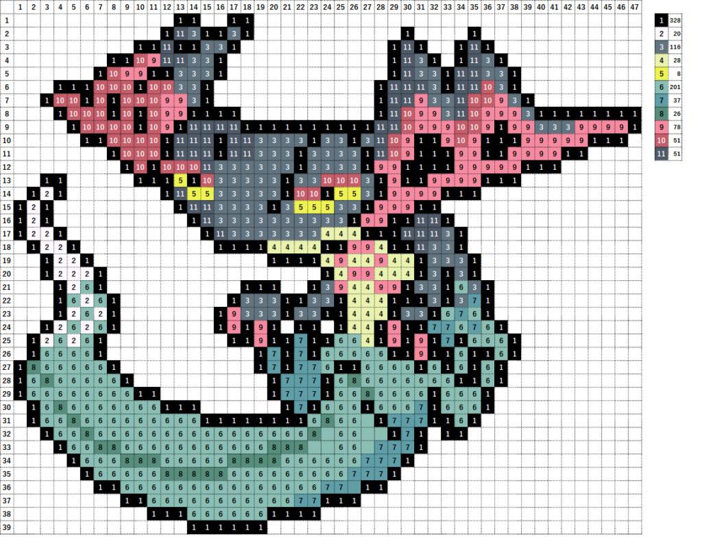 Pokemon Perler Beads アイロンビーズ 図案 ポケモン 887 ドラパルト Dragapult