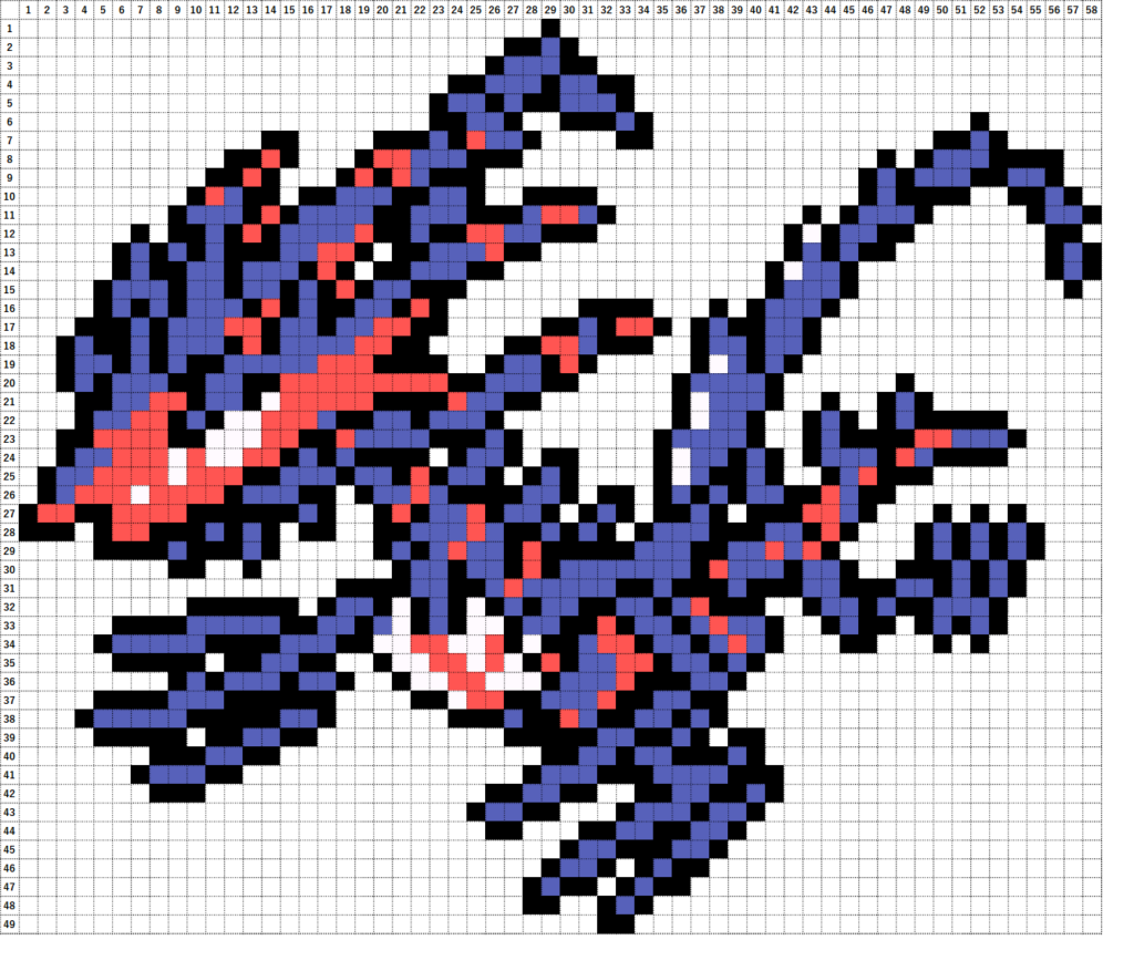 Pokemon Perler Beads アイロンビーズ 図案 ポケモン 890 ムゲンダイナ Eternatus