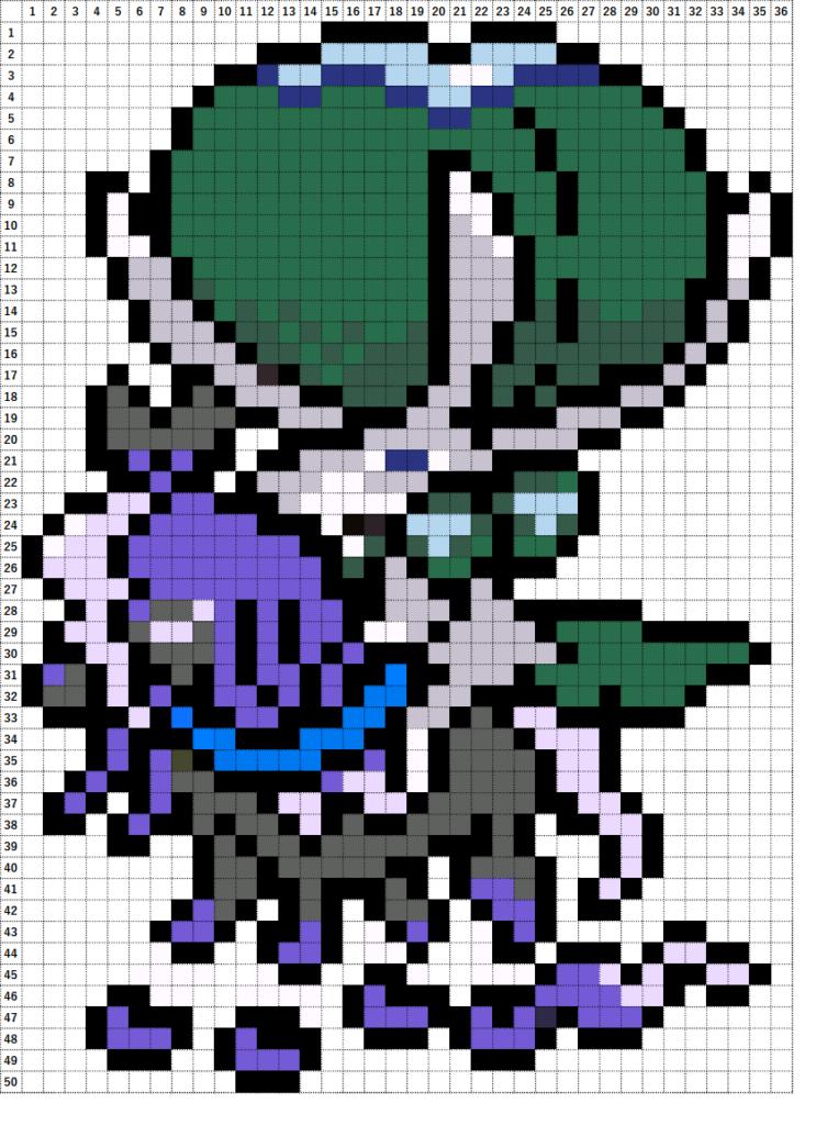 Pokemon Perler Beads アイロンビーズ 図案 ポケモン 898 バドレックス こくばじょうのすがた Shadow Rider Calyrex