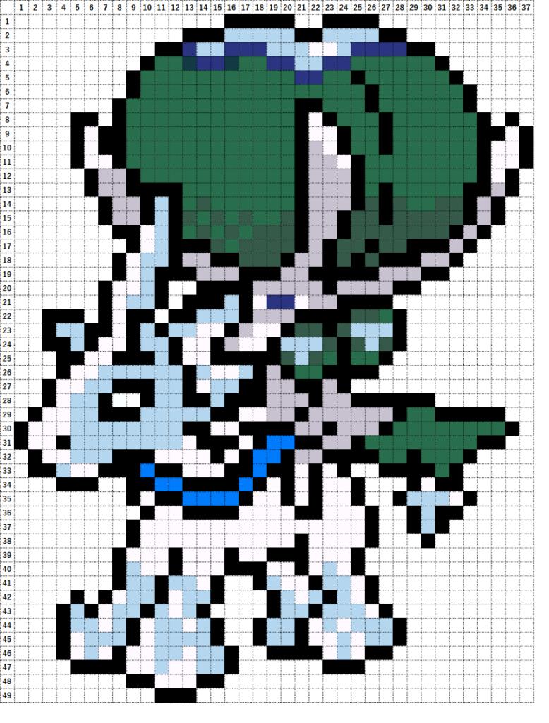 Pokemon Perler Beads アイロンビーズ 図案 ポケモン 898 バドレックス はくばじょうのすがた Ice Rider Calyrex