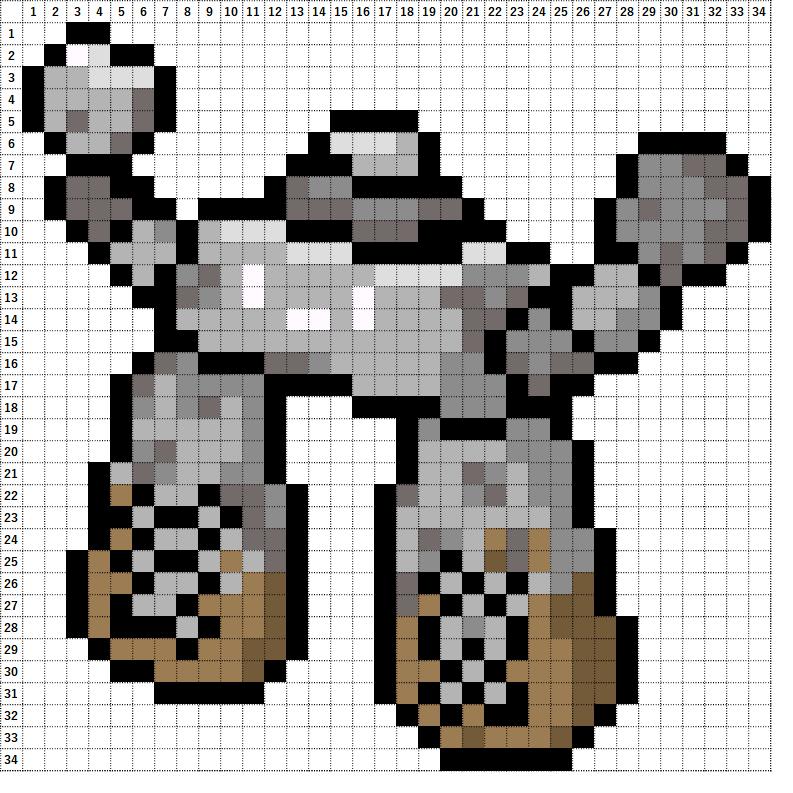 Pokemon Perler Beads アイロンビーズ 図案 ポケモン 874 イシヘンジン Stonjourner
