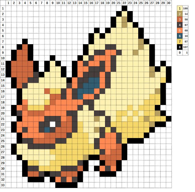 Pokemon ポケモン 図案 136 ブースター Flareon