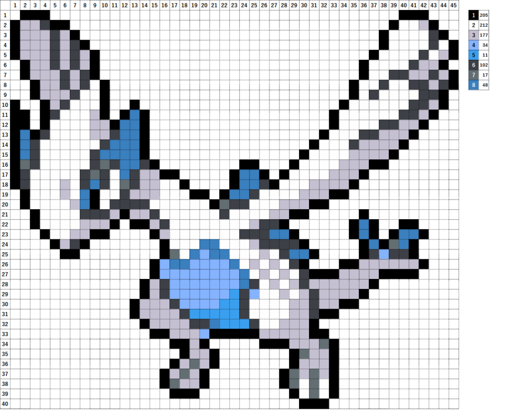 Pokemon Perler Beads アイロンビーズ 図案 ポケモン 249 ルギア Lugia