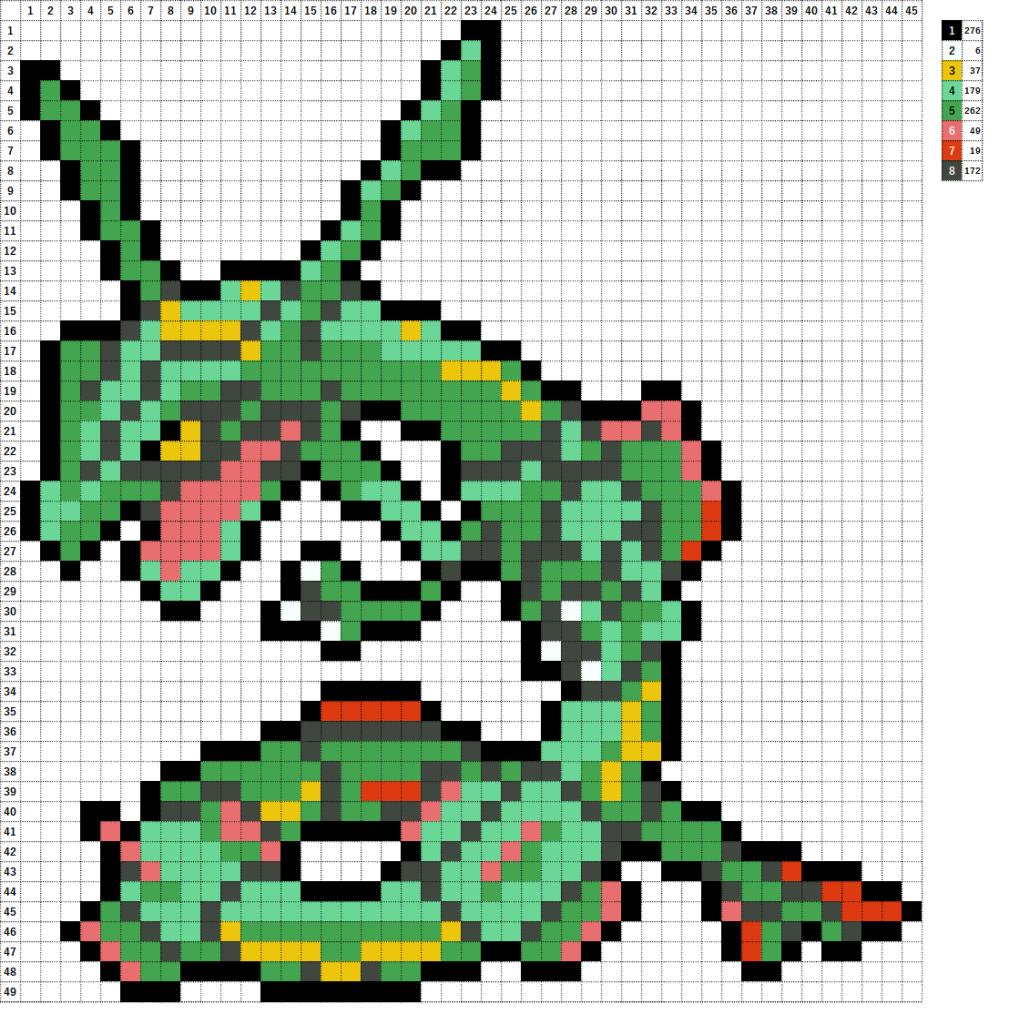 Pokemon Perler Beads アイロンビーズ 図案 ポケモン 384 レックウザ Rayquaza