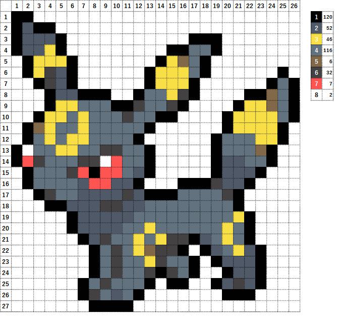 Pokemon ポケモン 図案 197 ブラッキー Umbreon