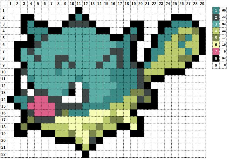 Pokemon ポケモン 図案 211 ハリーセン Qwilfish