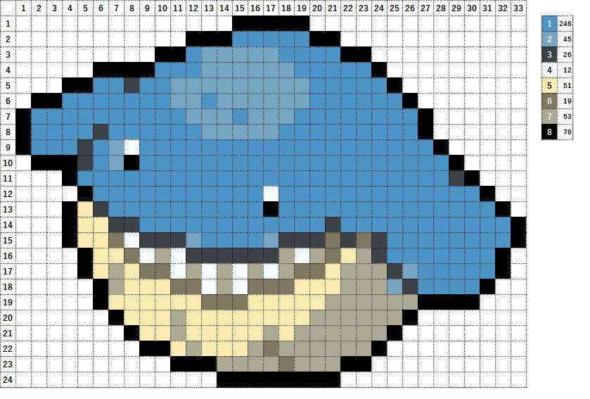 Pokemon ポケモン 図案 320 ホエルコ Wailmer