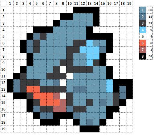 Pokemon ポケモン 図案 443 フカマル Gible