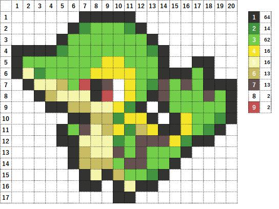 Pokemon ポケモン 図案 495 ツタージャ Snivy
